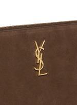 'Monogram' small fringe suede crossbody bag
