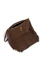 'Monogram' small fringe suede crossbody bag