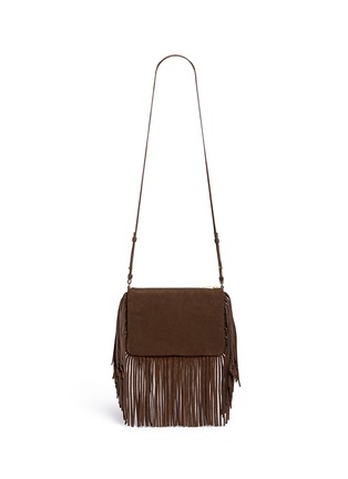 Back View - Click To Enlarge - Saint Laurent - 'Monogram' small fringe suede crossbody bag