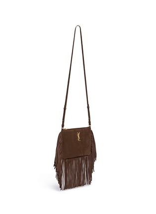 Front View - Click To Enlarge - Saint Laurent - 'Monogram' small fringe suede crossbody bag