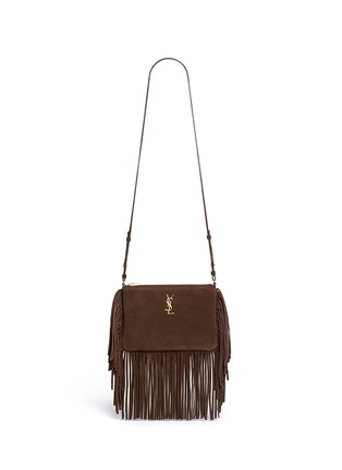 Main View - Click To Enlarge - Saint Laurent - 'Monogram' small fringe suede crossbody bag