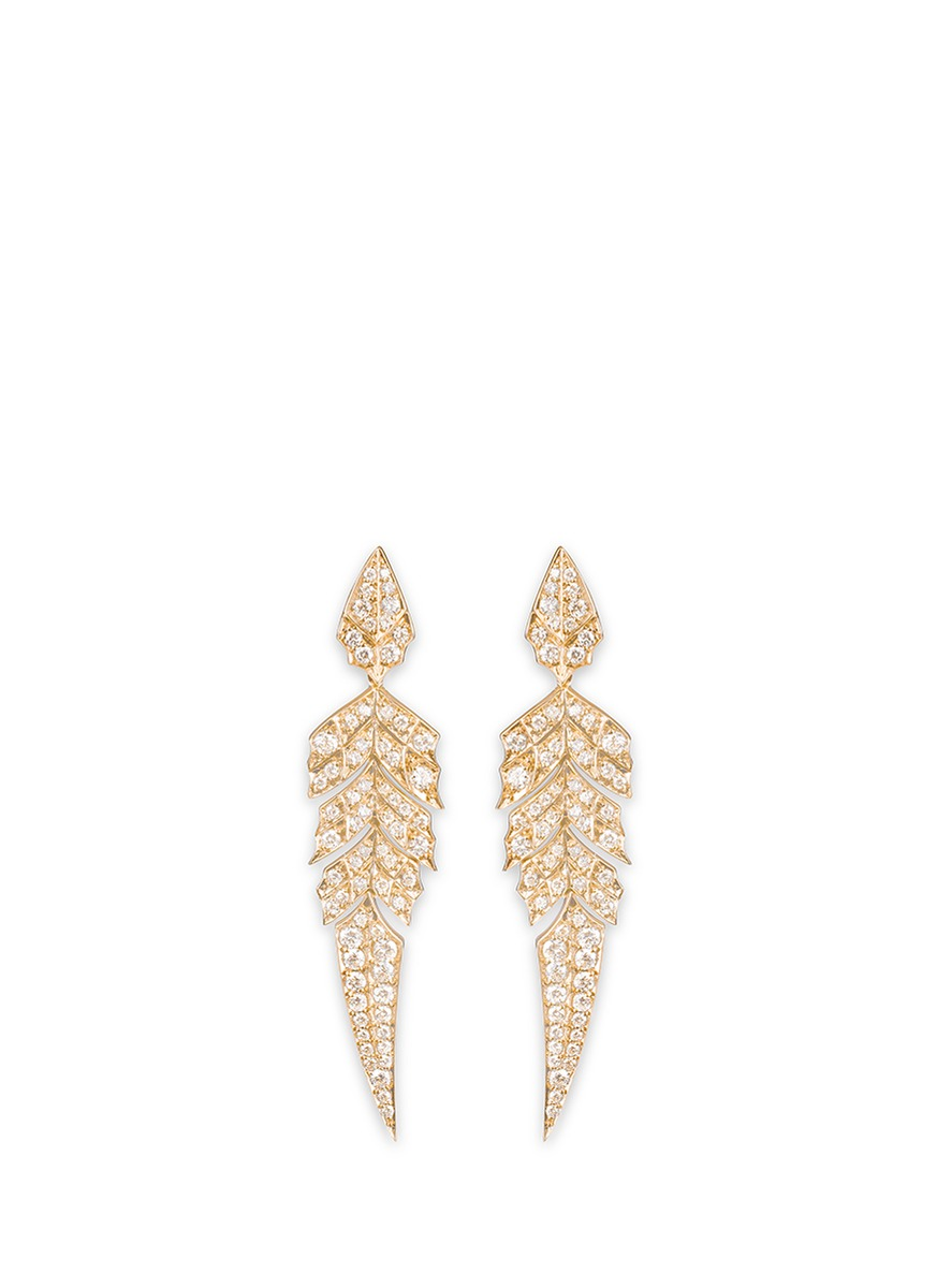 Magnipheasant diamond 18k rose gold feather drop earrings by Stephen Webster