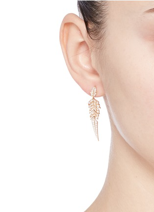 Figure View - Click To Enlarge - Stephen Webster - 'Magnipheasant' diamond 18k rose gold feather drop earrings