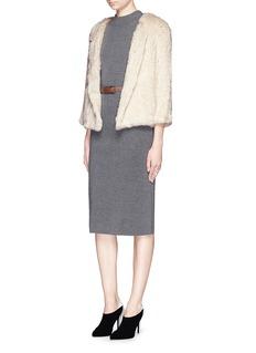 H BRAND'Lola' rabbit fur knit jacket