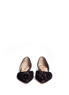 SAM EDELMAN 'Riley' velvet lace leather combo d'Orsay flats
