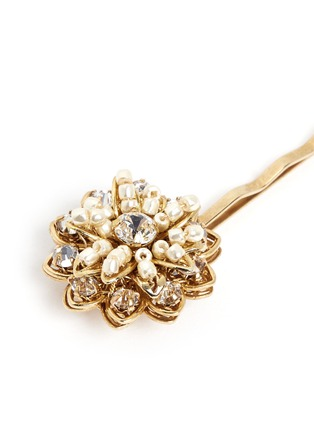 Detail View - Click To Enlarge - Miriam Haskell - Crystal glass pearl small flower hair clip