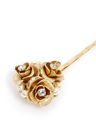 Detail View - Click To Enlarge - Miriam Haskell - Crystal glass pearl rose cluster hair clip