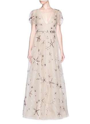 Main View - Click To Enlarge - Valentino - Sequin starfish silk organza gown