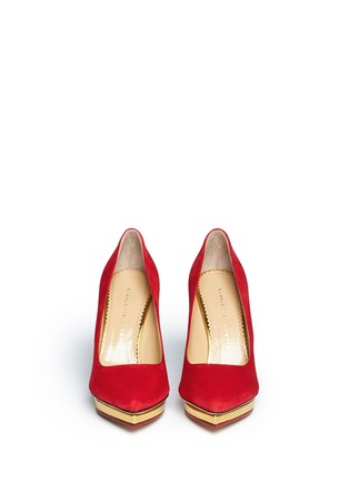 Figure View - Click To Enlarge - Charlotte Olympia - 'Debbie' suede platform pumps