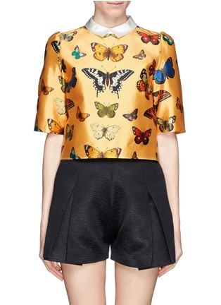 Main View - Click To Enlarge - Chictopia - Cropped butterfly print shirt