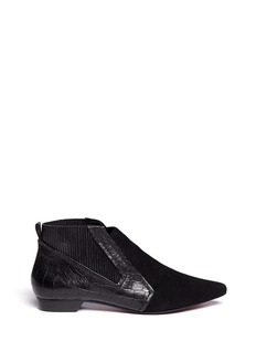 10 CROSBY DEREK LAM 'Alegra' croc embossed leather and suede booties
