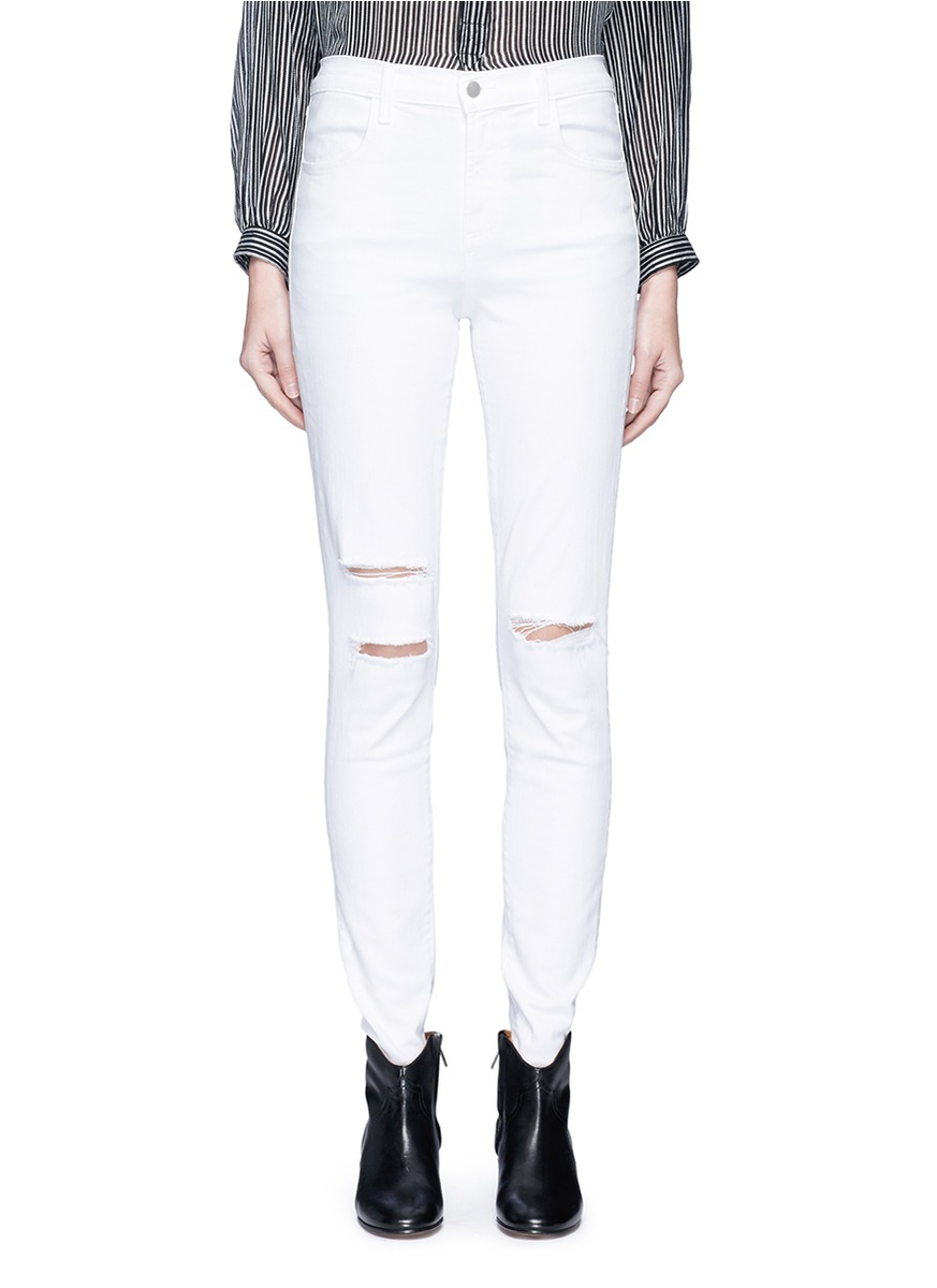 Maria high waist ripped skinny jeans by J Brand
