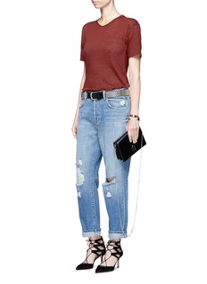 J Brand'Ivy' high rise distressed cropped jeans