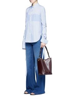 TibiTie sleeve contrast stripe cotton shirt