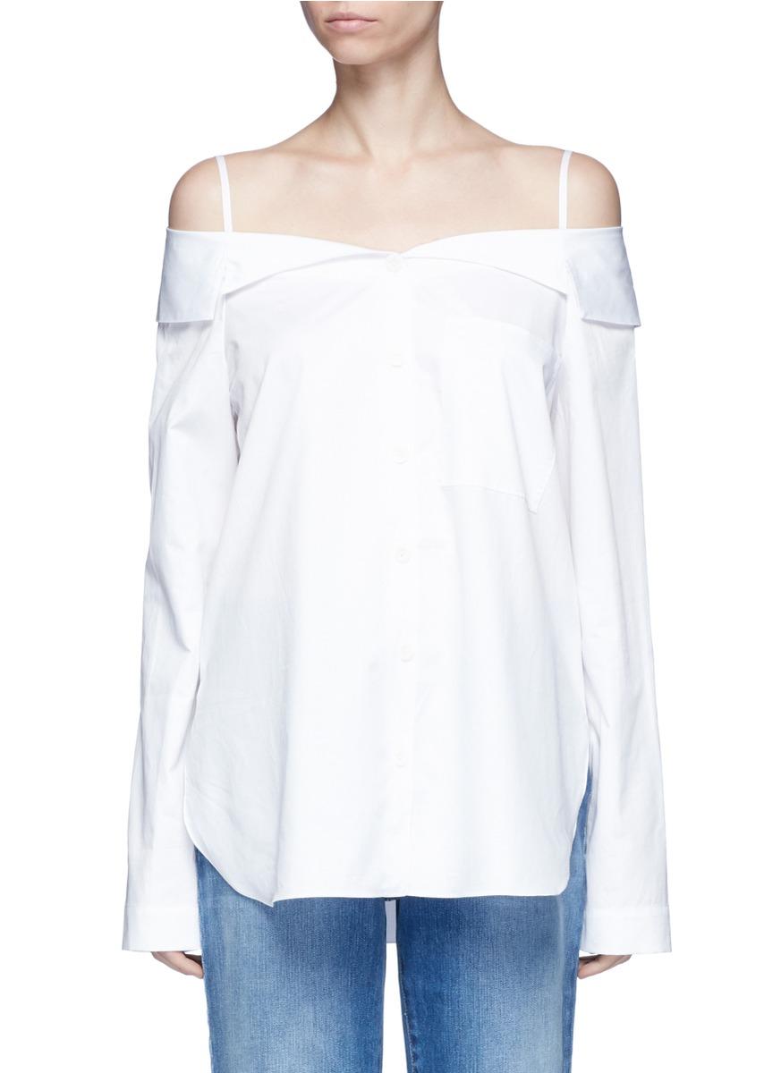 Off-shoulder satin poplin shirt by Tibi