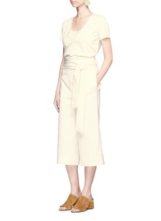 Tibi Tie waist tuck pleat faille culottes