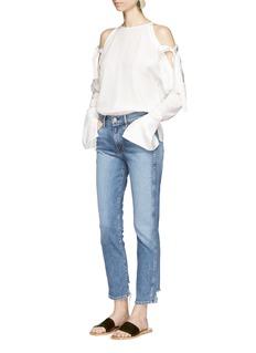 TibiRibbon tie cold shoulder silk blouse