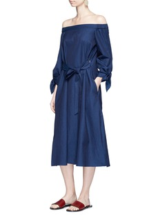 Tibi Tie sleeve off-shoulder denim dress