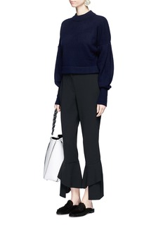Tibi Pleated balloon sleeve cashmere sweater