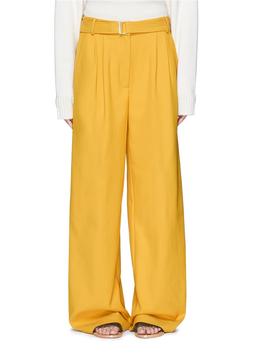 Belted wide leg twill pants by Tibi