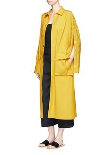 TibiBelted split sleeve twill trench coat