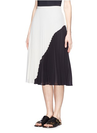 Front View - Click To Enlarge - WHISTLES - Ellie colour block plissé pleat midi skirt