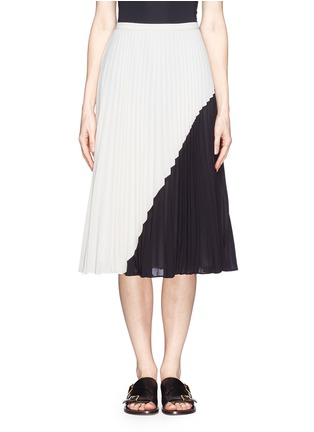 Main View - Click To Enlarge - WHISTLES - Ellie colour block plissé pleat midi skirt