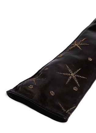 Detail View - Click To Enlarge - Valentino - Metallic star embroidered long leather gloves