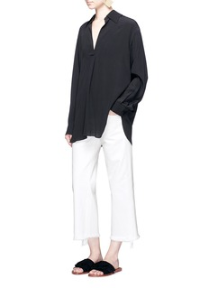 Simon Miller'Lamere' frayed cuff cropped wide leg jeans