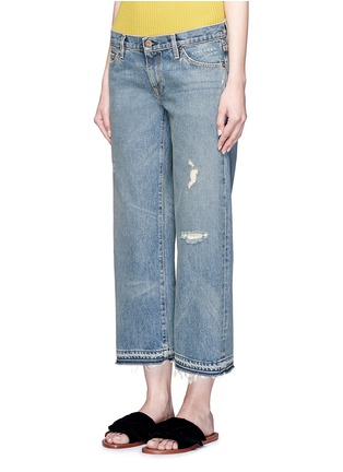 Front View - Click To Enlarge - Simon Miller - 'Aya' frayed cuff washed wide leg jeans