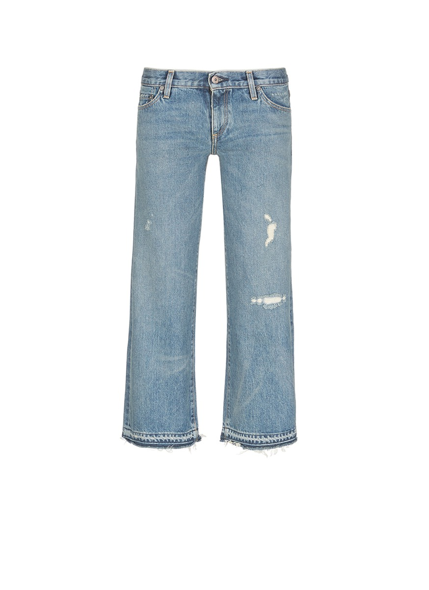 Aya frayed cuff washed wide leg jeans by Simon Miller