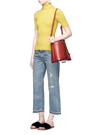 Figure View - Click To Enlarge - Simon Miller - 'Aya' frayed cuff washed wide leg jeans