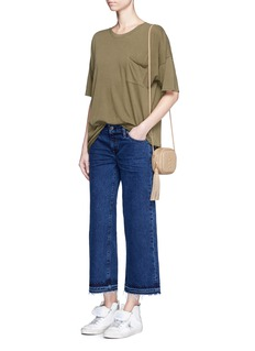 Simon Miller'Varra' frayed cuff cropped wide leg jeans