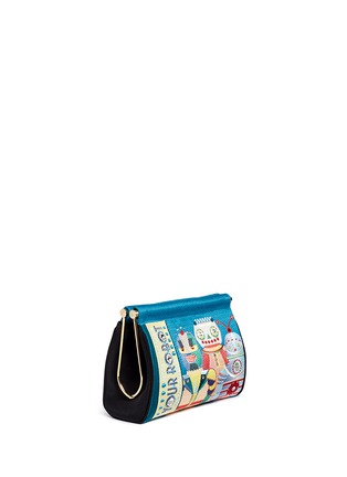 Front View - Click To Enlarge - Charlotte Olympia - 'Your Robot Maggie' embroidery clutch