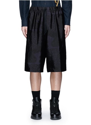 Dries Van Noten-Peacock jacquard elastic waist shorts