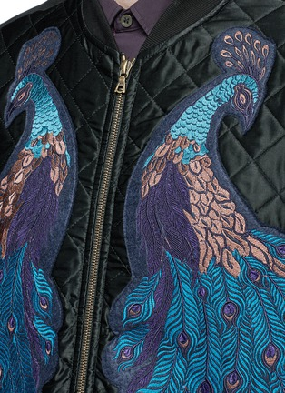 Detail View - Click To Enlarge - Dries Van Noten - ''Hamish' Peacock embroidery satin bomber jacket