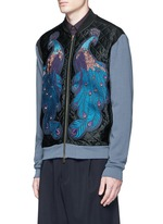 ''Hamish' Peacock embroidery satin bomber jacket
