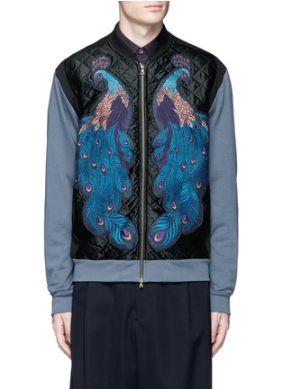 Main View - Click To Enlarge - Dries Van Noten - ''Hamish' Peacock embroidery satin bomber jacket