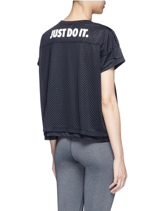 Back View - Click To Enlarge - Nike - Logo print layered cropped mesh T-shirt