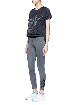 Figure View - Click To Enlarge - Nike - Logo print layered cropped mesh T-shirt