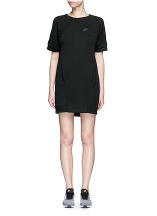 Main View - Click To Enlarge - Nike - 'Tech Fleece' mesh cuff jersey dress
