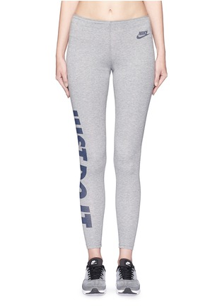 Main View - Click To Enlarge - Nike - 'Leg-A-See' slogan print sports leggings