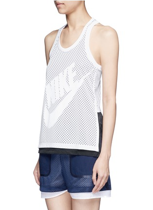 Front View - Click To Enlarge - Nike - 'Nike Mesh' logo print tank top
