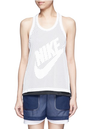 Main View - Click To Enlarge - Nike - 'Nike Mesh' logo print tank top