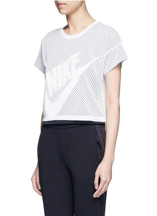Front View - Click To Enlarge - Nike - Logo print layered cropped mesh T-shirt
