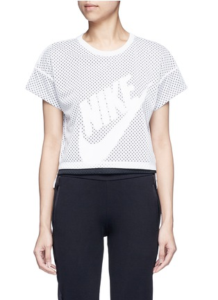 Main View - Click To Enlarge - Nike - Logo print layered cropped mesh T-shirt