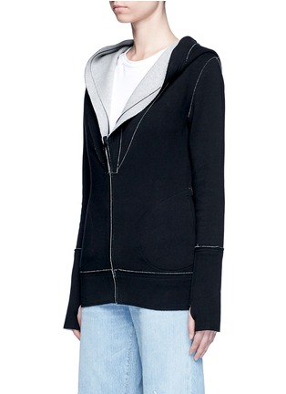 Front View - Click To Enlarge - Norma Kamali - Reversible bonded jersey zip hoodie