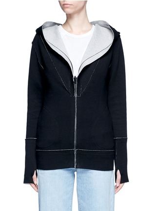 Main View - Click To Enlarge - Norma Kamali - Reversible bonded jersey zip hoodie