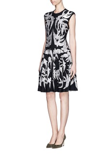 ALEXANDER MCQUEEN Swallow jacquard knit dress