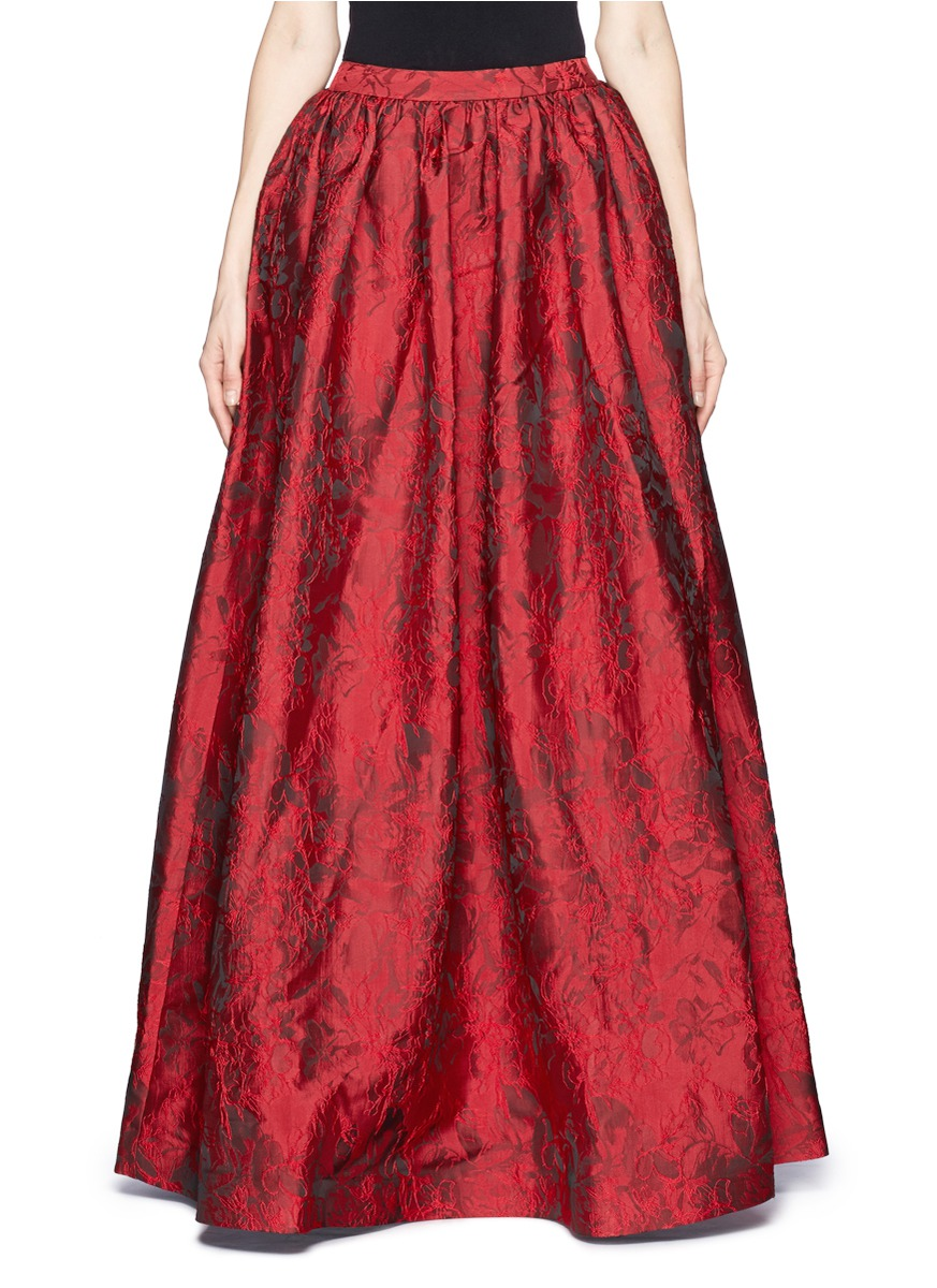 Alice Olivia Tina Floral Jacquard Skirt On Sale